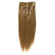 * Clip on hair #12 50 cm Lysebrun