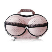 Bra bag for carrying - Pink and black polka dots