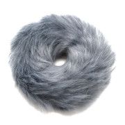 Hair Elastic with Fur - Faux Scrunchie, Grey