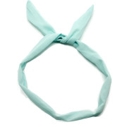 Flexi Headband with wire - turquoise and white polka dots