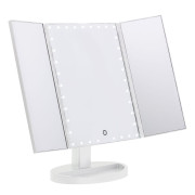 Uniq Hollywood Trifold Makeup Mirror with LED Light - White